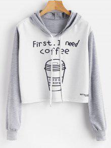 القهوة الرسم اقتصاص البلوز هوديي - متعدد M