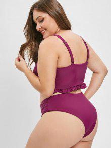 510c4abe62 58% OFF  2019 ZAFUL Ruffle Square Neck Plus Size Bathing Suit In RED ...