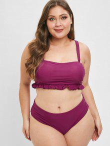 998e42433726 27% OFF] 2019 ZAFUL Ruffle Square Neck Plus Size Bathing Suit In RED ...