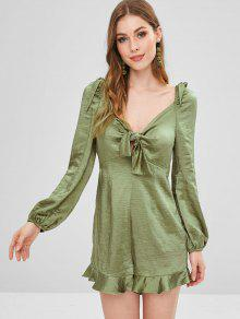 ZAFUL Empire Waist Knotted Satin Romper - السرخس الأخضر M
