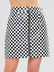 ZAFUL Checkered Zip Up بو الجلود تنورة - متعدد L
