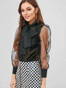 6a5d50042c3a 27% OFF] 2019 Puff Sleeve Sheer Organza Pussy Bow Shirt In BLACK ...
