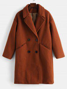 معطف مزدوجة الصدر عادي طية صدر السترة - كستنائي أحمر Xl