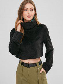 ZAFUL Turtleneck Crop Faux Fur Sweatshirt - أسود Xl