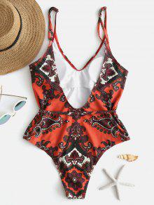 639d50e58d 61% OFF] 2019 ZAFUL Retro Printed One Piece Swimsuit In PAPAYA ...