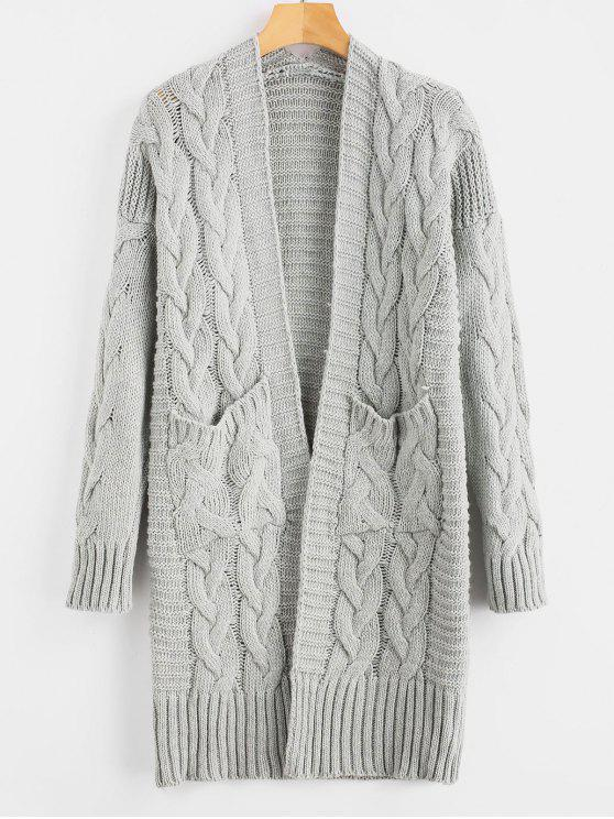 Cardigan de malha de cabo com bolsos - Cinza claro Um Tamanho
