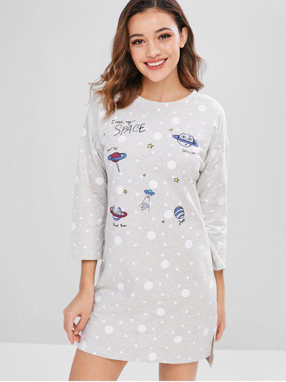 Vestido de pijama con abertura de letras a lunares - Gris Claro M