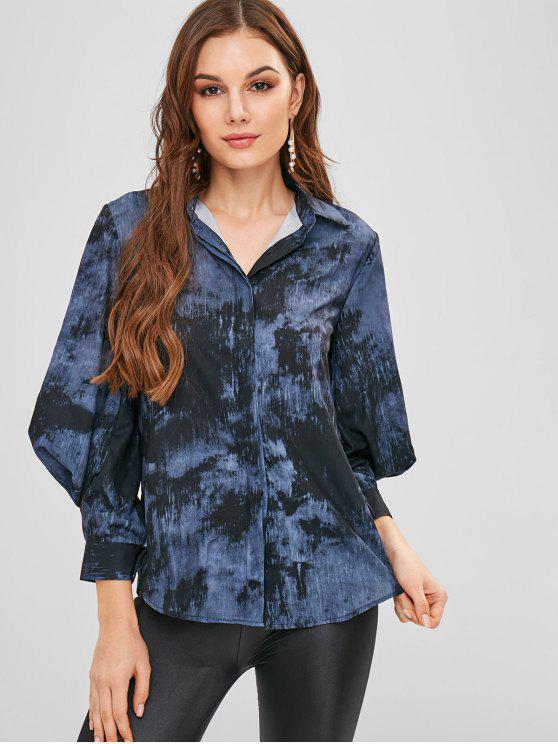 Camisa de manga de globo con efecto tie dye - Multicolor L