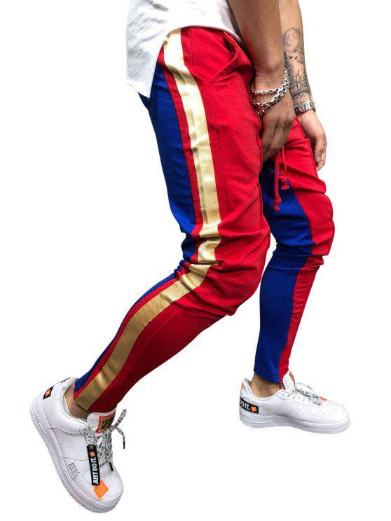 fancy Stripe Color Block Jogger Pants - LAVA RED XL