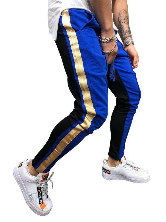 women's Stripe Color Block Jogger Pants - OCEAN BLUE L