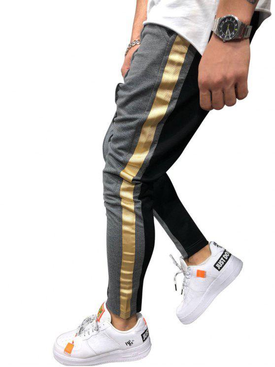 outfit Stripe Color Block Jogger Pants - BATTLESHIP GRAY 3XL