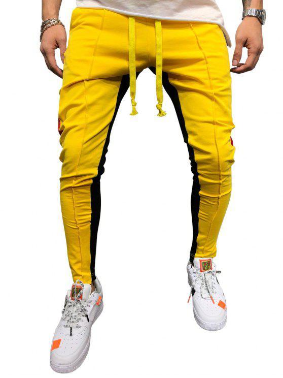 Цветной блок Повседневные Брюки - Жёлтый L