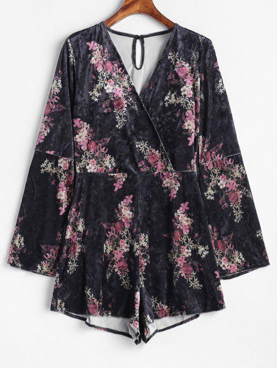 04785b21e4fe 2019 Bell Long Sleeve Floral Velvet Romper In BLACK M