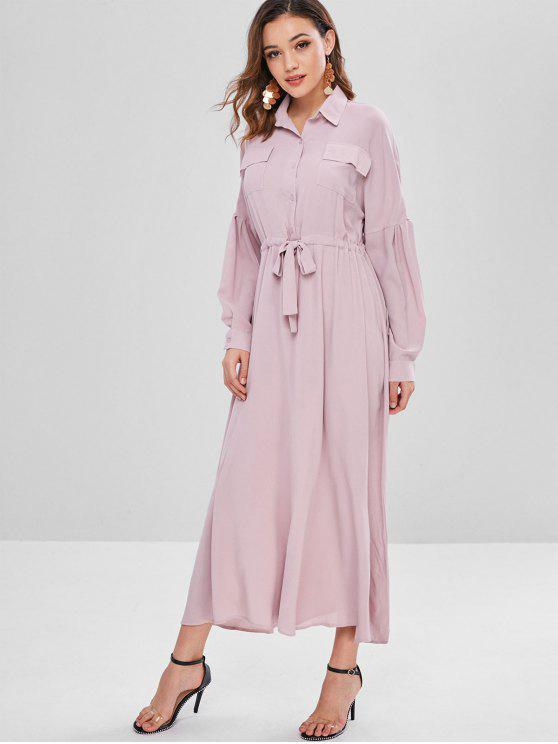 affordable Waist Drawstring Maxi Shirt Dress - PINK L