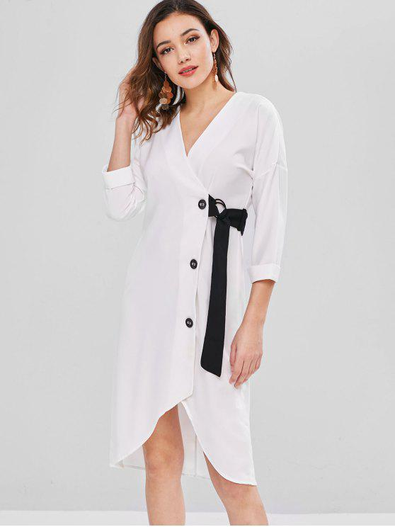 affordable Contrasting Button Front Midi Dress - WHITE S