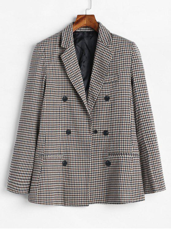 chic Gingham Double Breasted Tweed Blazer - MULTI S