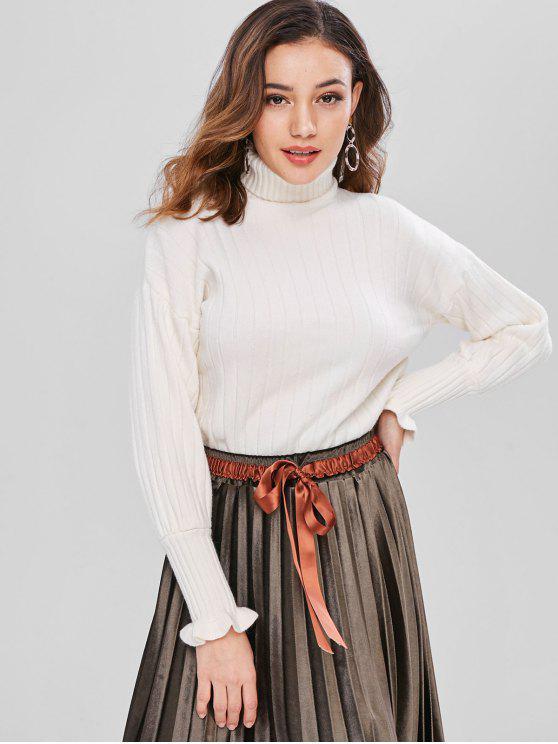 best Turtleneck Knit Drop Shoulder Sweater - WARM WHITE ONE SIZE