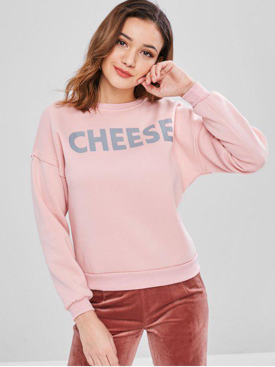shop Pullover Graphic Fleece Inner Sweatshirt - PINK M