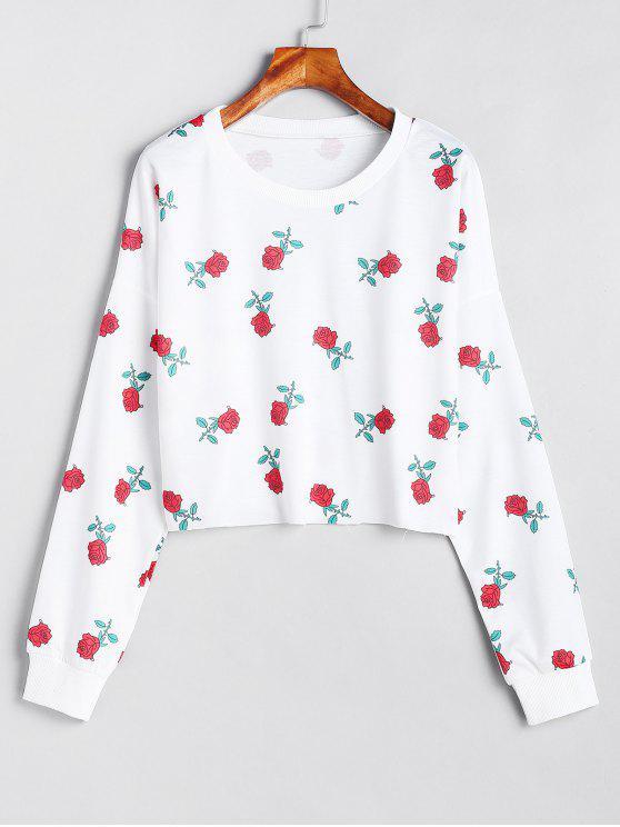 Sweat-shirt Floral à Goutte Epaule - Blanc L