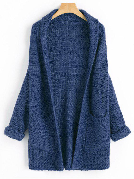 Curled Sleeve Batwing Open Front Cardigan - Cadetblue Talla única