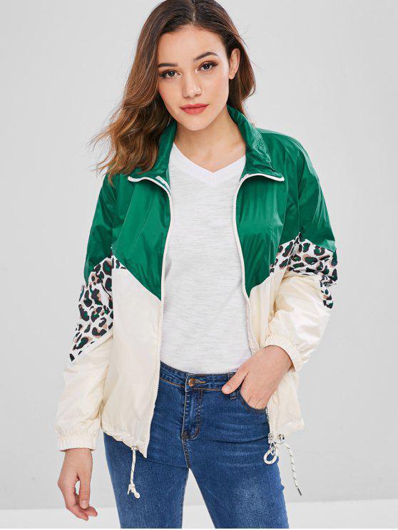 best Leopard Color Block Windbreaker Jacket - MULTI M