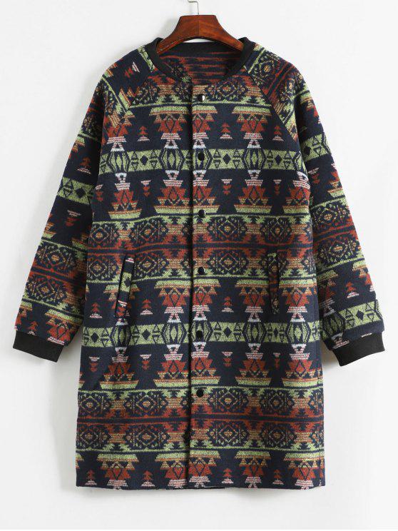 womens Geometric Pattern Button Up Woolen Coat - CADETBLUE M