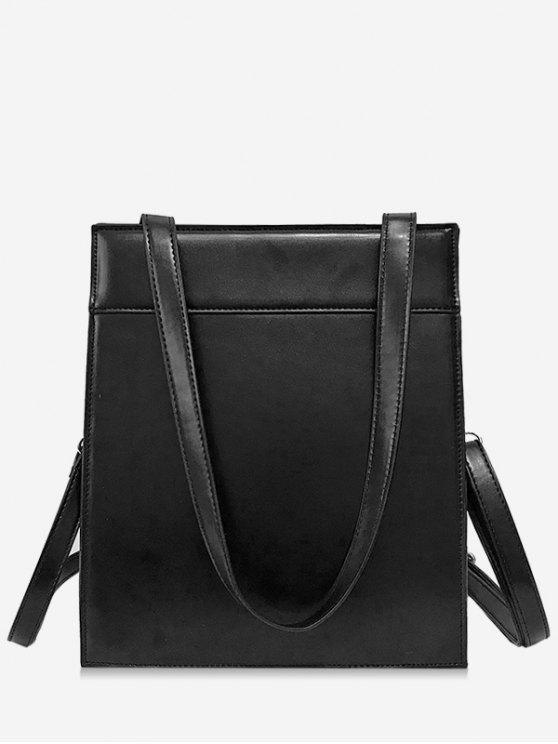chic Magnet Hook PU Design  Shoulder Bag - BLACK