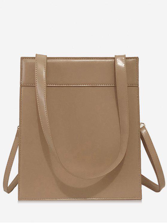 hot Magnet Hook PU Design  Shoulder Bag - LIGHT KHAKI