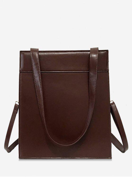 latest Magnet Hook PU Design  Shoulder Bag - BROWN