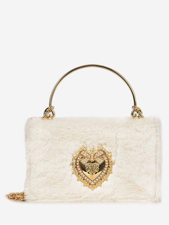 outfits Heart Shape Rhinestone Fluffy Crossbody Bag - WHITE