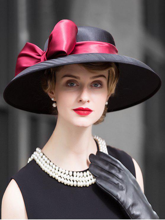 women Large Ribbon Bowknot Side Church Hat - BLACK