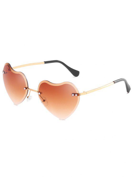 women Unique Heart Lens Rimless Sunglasses - SANDY BROWN