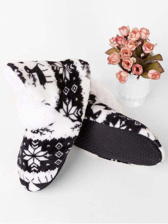 ladies Snowflake Non-Slip Home Socks - BLACK
