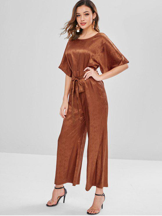 womens ZAFUL Plain Belted Wide Leg Jumpsuit - LIGHT BROWN L