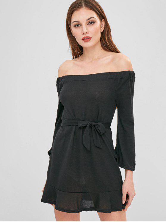 fashion Mini Off The Shoulder Sweater Dress - BLACK S