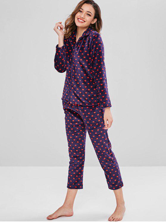 e5f2ddaf4fc8a1 Conjunto de pijama de coração de flanela