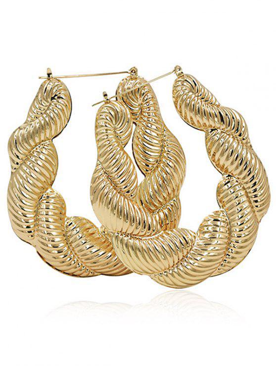 womens Alloy Punk Twist Hoop Earrings - GOLD