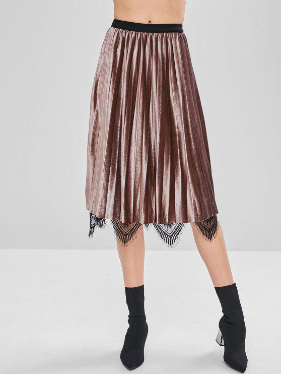 de95ae0f7b 28% OFF] 2019 Layered Pleated Lace Velvet Midi Skirt In DULL PURPLE ...