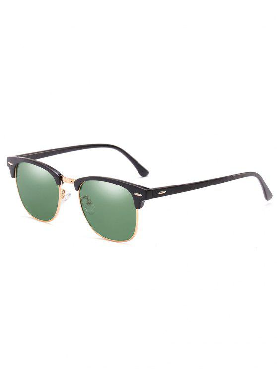 unique Metal Semi-Rimless Frame Sunglasses - HAZEL GREEN