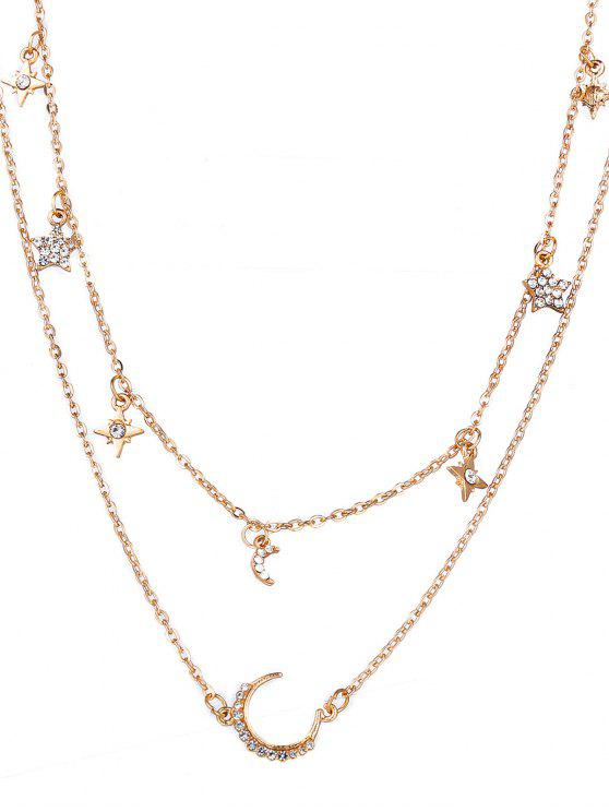 women Layered Star and Moon Printed Pendant Necklace - GOLD