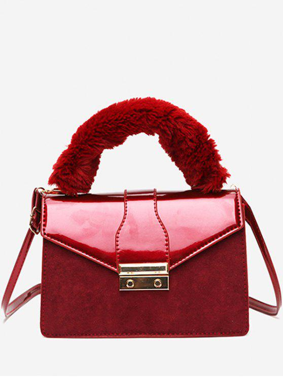 Lady Faux Suede Design Cover Crossbody Bag Red