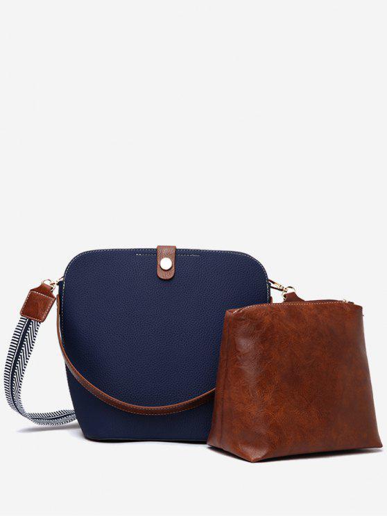shop 2Pcs Magnet Hook PU Leather Crossbody Bag - DEEP BLUE