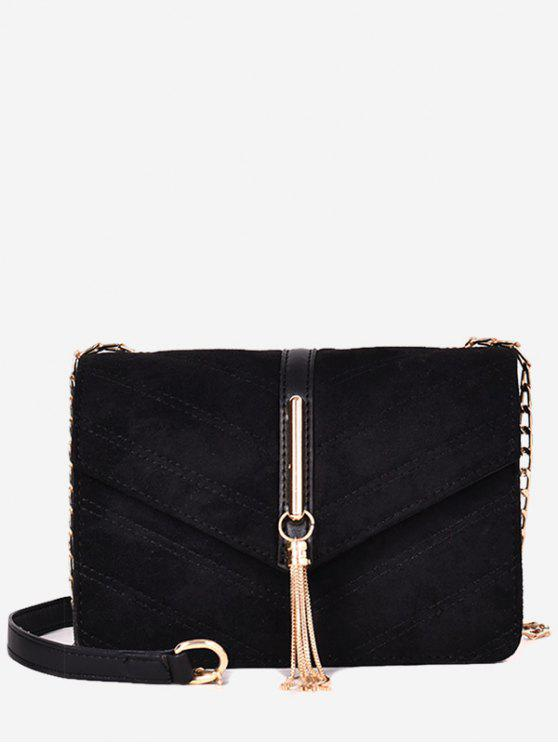 unique Tassel Design Fluffy Cover Crossbody Bag - BLACK