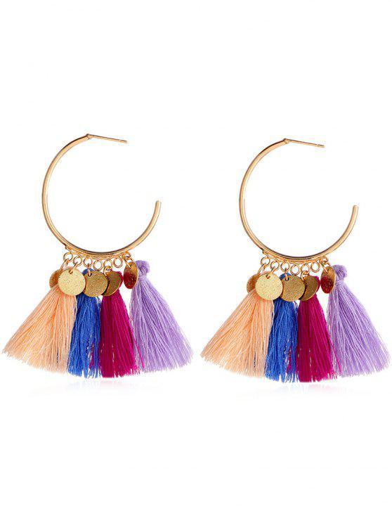 ladies Statement Ethnic Style Tassel Design Earrings - MULTI-A