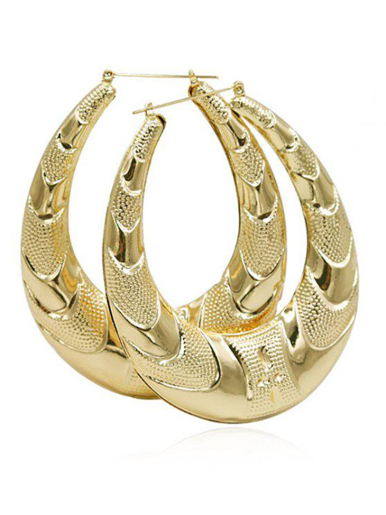 outfits Metal Water Drop Pattern Hoop Earrings - GOLD