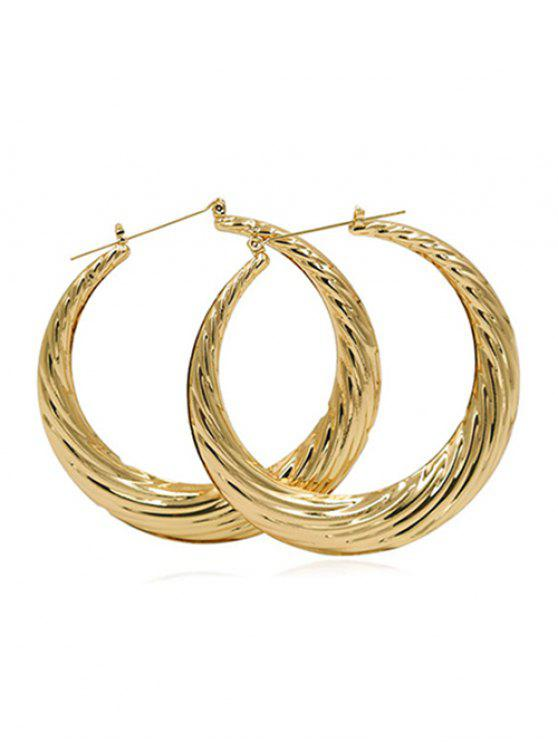 chic Statement Design Round Metal Earrings - GOLD
