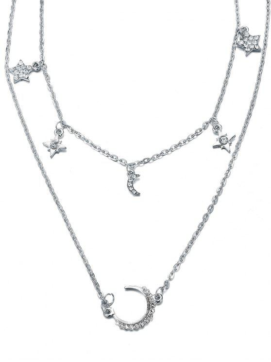 women's Layered Star and Moon Printed Pendant Necklace - SILVER