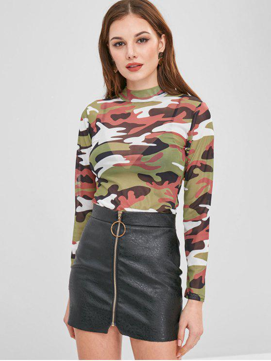 outfit Snap Crotch Mesh Camo Long Sleeve Bodysuit - ACU CAMOUFLAGE XL