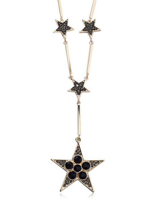 hot Stars Decoration Rhinestone Pendant Necklace - GOLD