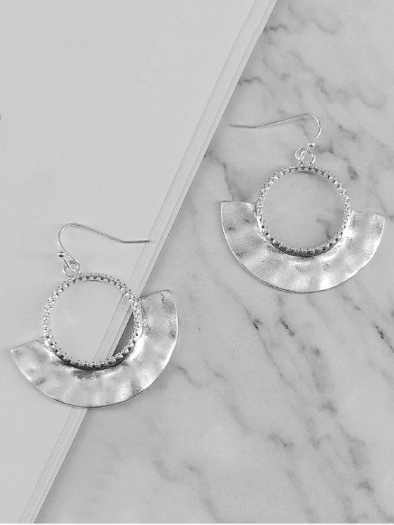 unique Metal Fanshaped Hollow Design Earrings - SILVER